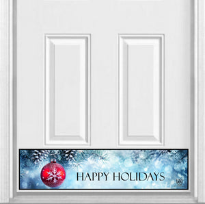 "Happy Holidays Winter Blue Magnetic Kick Plate for Steel Door, 8"" x 34"" and 6"" x 30"" Size Options"