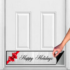"Happy Holidays Bow Magnetic Door Sign Kick Plate, 8"" x 34"" and 6"" x 30"" Size Options"