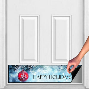"Happy Holidays Winter Blue Magnetic Door Sign Kick Plate, 8"" x 34"" and 6"" x 30"" Size Options"