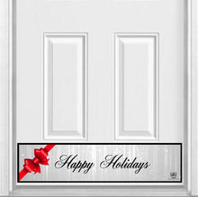 "Load image into Gallery viewer, Happy Holidays Bow Magnetic Kick Plate for Steel Door, 8"" x 34"" and 6"" x 30"" Size Options"