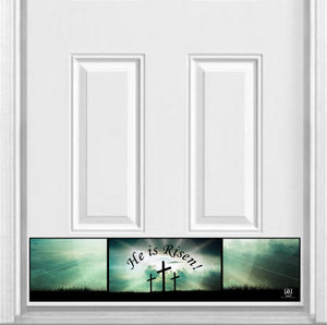 "He is Risen! Magnetic Kick Plate for Steel Door, 8"" x 34"" and 6"" x 30"" Size Options"