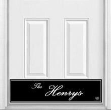 "Load image into Gallery viewer, Surname (Script) Magnetic Kick Plate for Steel Door, 8"" x 34"" and 6"" x 30"" Size Options"