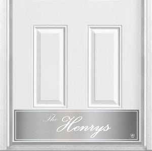 "Surname (Script) Magnetic Kick Plate for Steel Door, 8"" x 34"" and 6"" x 30"" Size Options"