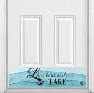 "Life is Better at the Lake Magnetic Kick Plate for Steel Door, 8"" x 34"" and 6"" x 30"" Size Options"