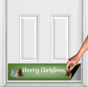 "Merry Christmas Plaid Trees Magnetic Kick Plate Door Sign, 8"" x 34"" and 6"" x 30"" Size Options"