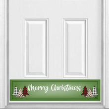 "Load image into Gallery viewer, Merry Christmas Plaid Trees Magnetic Kick Plate for Steel Door, 8"" x 34"" and 6"" x 30"" Size Options"