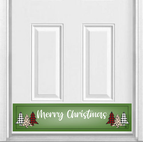 Merry Christmas Plaid Trees Magnetic Kick Plate for Steel Door, 8