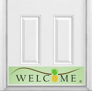 "Pineapple Welcome Magnetic Kick Plate for Steel Door, 8"" x 34"" and 6"" x 30"" Size Options"