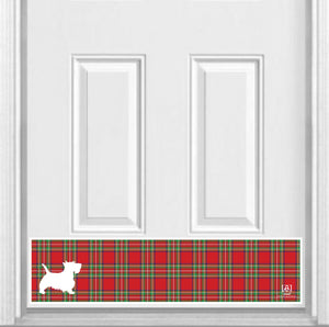 "Plaid Scottie Dog Magnetic Kick Plate for Steel Door, 8"" x 34"" and 6"" x 30"" Size Options"