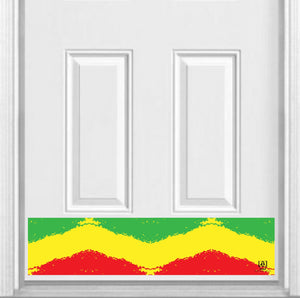 "Rasta Print Magnetic Kick Plate for Steel Door, 8"" x 34"" and 6"" x 30"" Size Options"