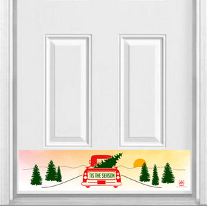 "Tis the Season Magnetic Door Sign Kick Plate, 8"" x 34"" and 6"" x 30"" Size Options"
