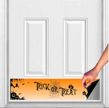 "Load image into Gallery viewer, Trick-or-Treat Magnetic Kick Plate Door Sign Kick Plate 8"" x 34"" and 6"" x 30"" Size Options"