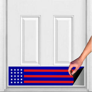 "Red, White, and Blue Patriot Magnetic Door Sign Kick Plate, 8"" x 34"" and 6"" x 30"" Size Options"