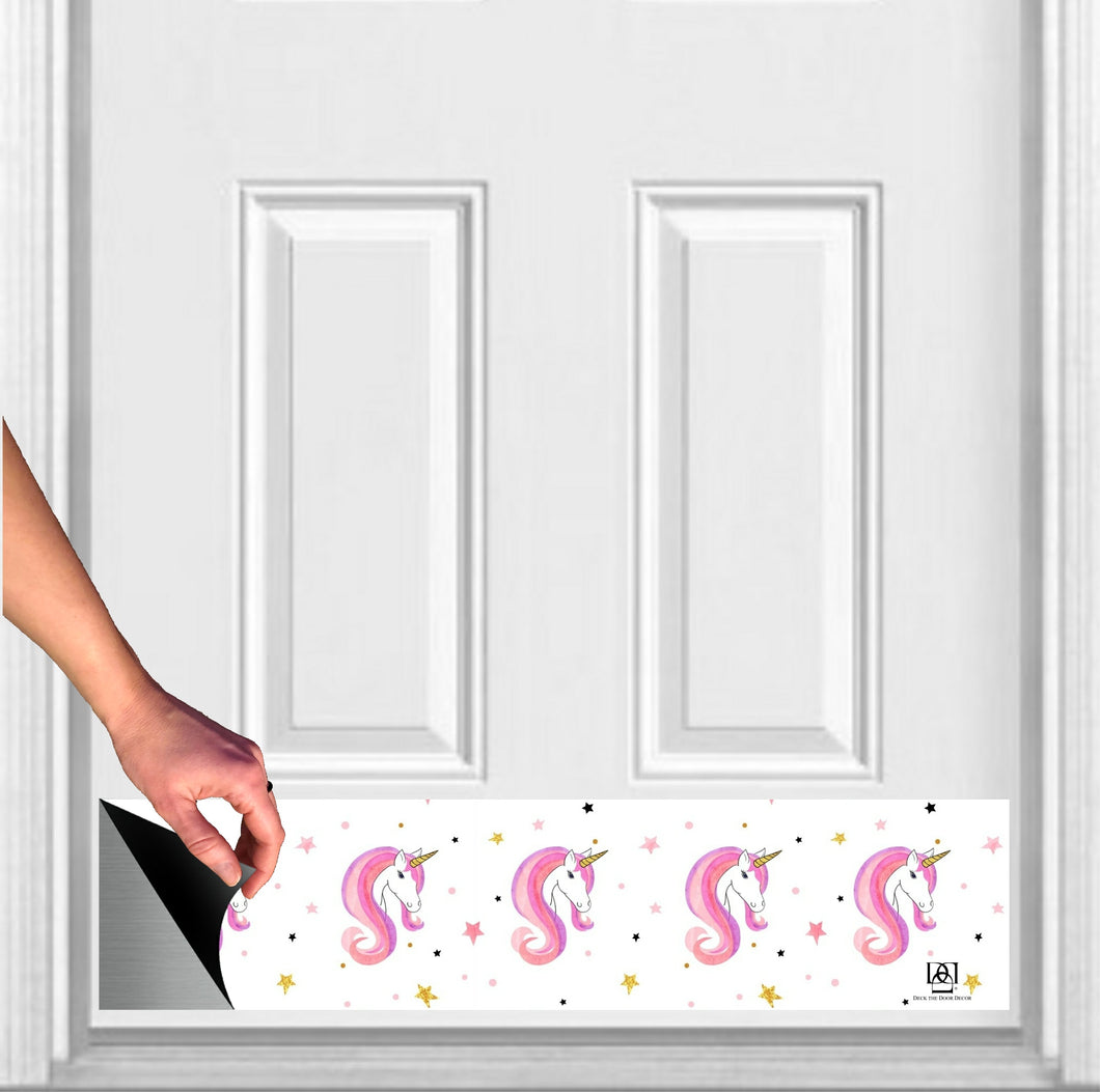 Unicorn Print Magnetic Door Sign Kick Plate, 8
