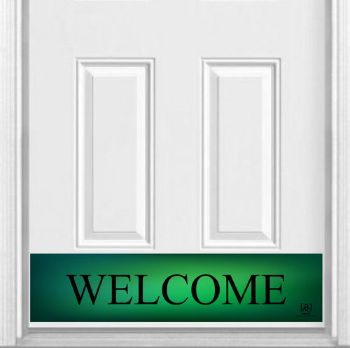 Green Welcome Magnetic Kick Plate for Steel Door, 8