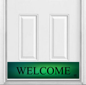 "Green Welcome Magnetic Kick Plate for Steel Door, 8"" x 34"" and 6"" x 30"" Size Options"