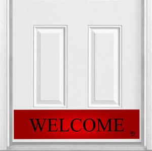 "Red Welcome Magnetic Kick Plate for Steel Door, 8"" x 34"" and 6"" x 30"" Size Options"