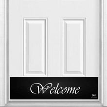 "Load image into Gallery viewer, Script Welcome Magnetic Kick Plate for Steel Door, 8"" x 34"" and 6"" x 30"" Size Options"