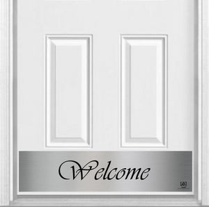 "Script Welcome Magnetic Kick Plate for Steel Door, 8"" x 34"" and 6"" x 30"" Size Options"