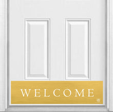"Load image into Gallery viewer, Traditional Welcome Magnetic Kick Plate for Steel Door, 8"" x 34"" and 6"" x 30"" Size Options"