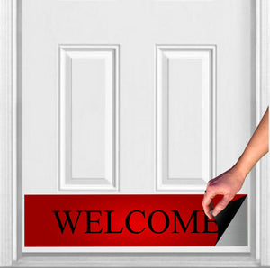 "Red Welcome Magnetic Door Sign Kick Plate, 8"" x 34"" and 6"" x 30"" Size Options"