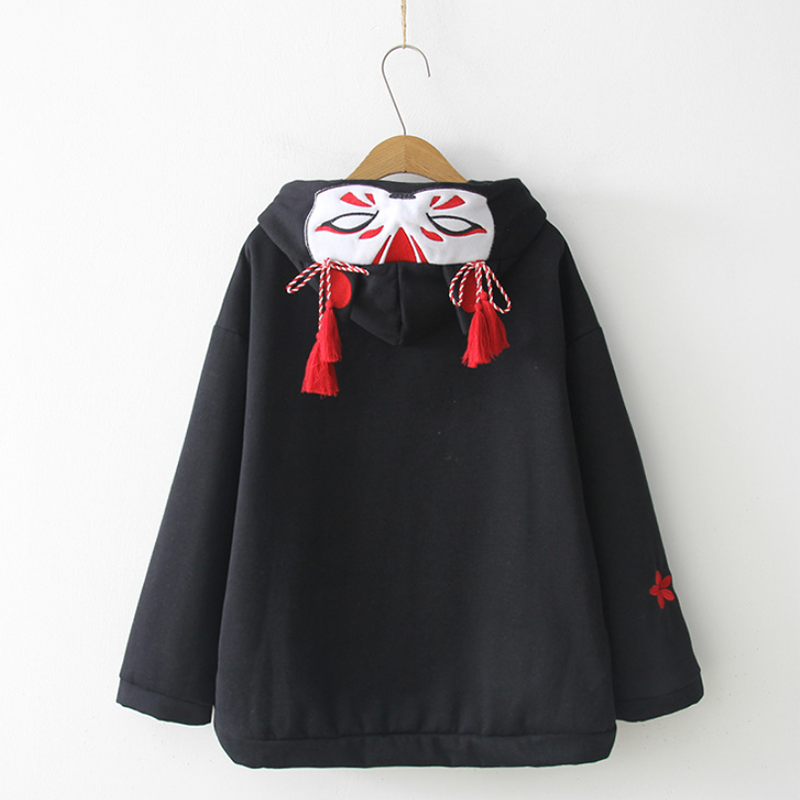 Fox Ghost Face Embroidery Tassels Hoodie