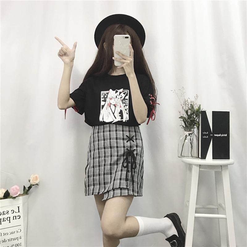 Cartoon Fox Print Lace-Up T-shirt