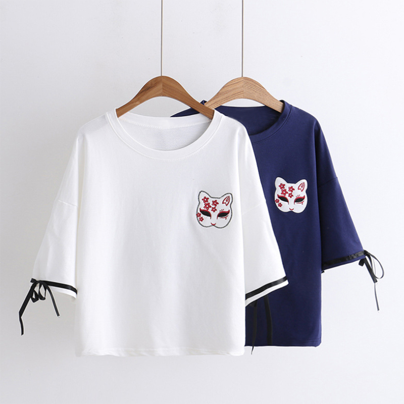 Fox Mask Sakura Embroidery T-shirt