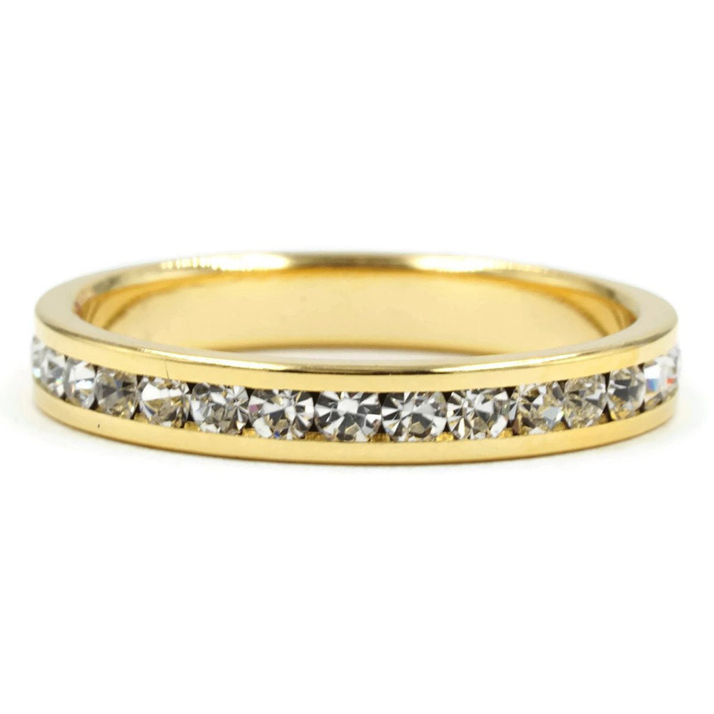 Clear Round Cut Crystal Stone Eternity Band Ring Gold Tone