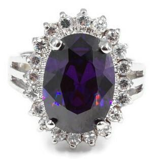 Dramatic Oval Amethyst CZ Cocktail Ring