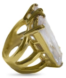 Oversized Clear Double Baguette CZ Gold Tone Fashion Ring