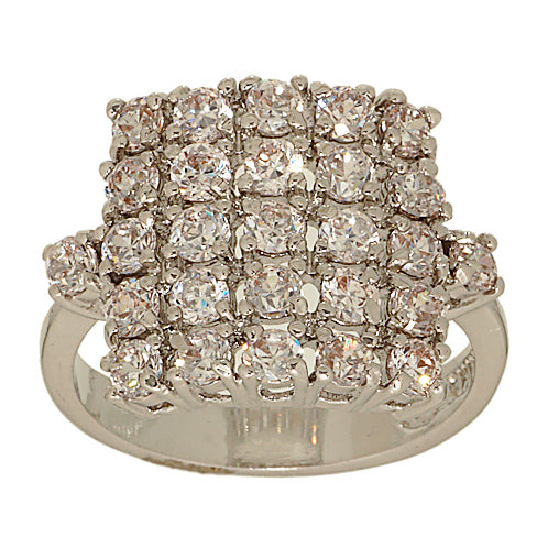 Handset Clear Pave Cluster Cocktail Square Ring
