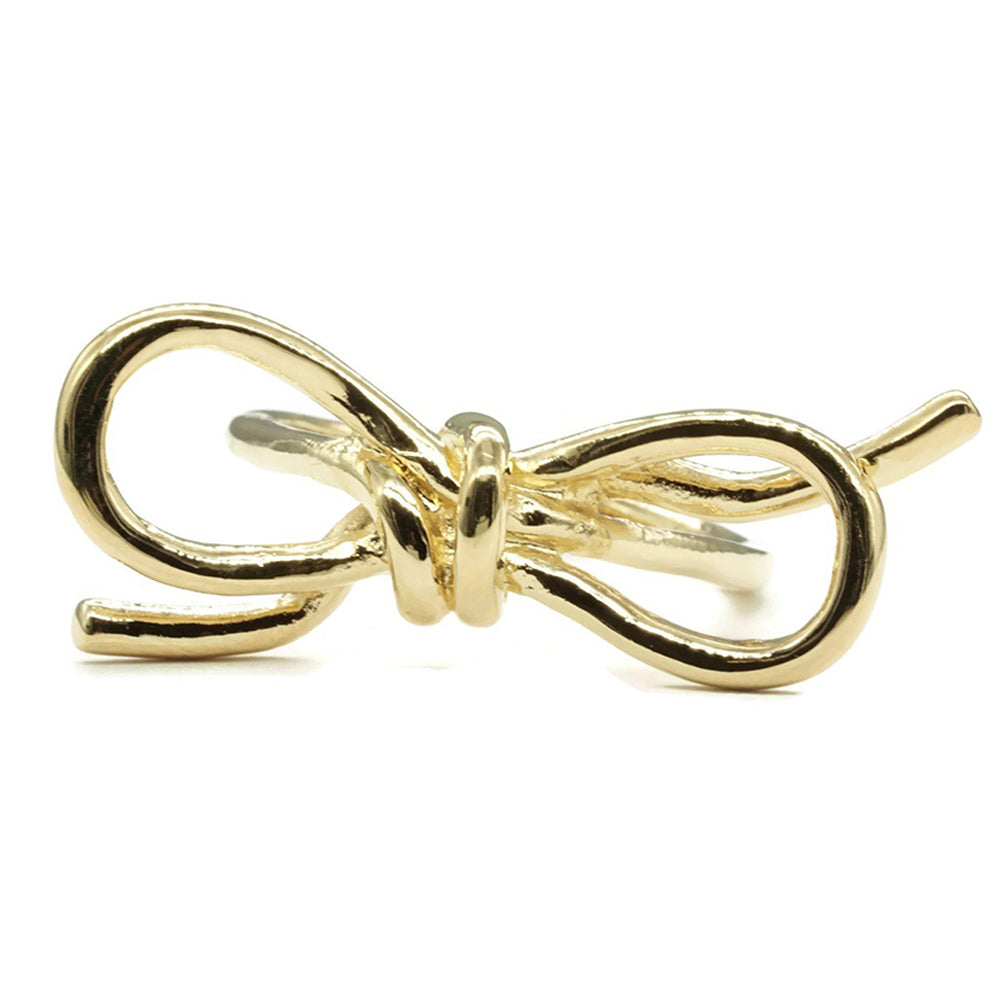 Gold Tone Tied Ribbon Fashion Ring