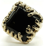 Coral Wrapped Offset Square Simulated Onyx Stone Adjustable