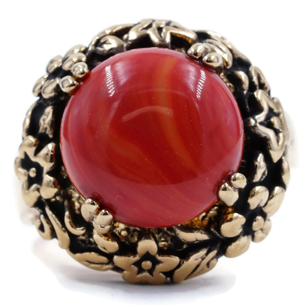 Genuine Coral Floral Setting Antiqued Gold Tone Ring