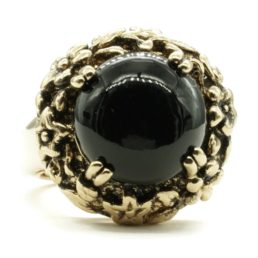 Simulated Onyx Stone Antiqued Floral Adjustable