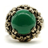 Simulated Green Agate Stone Antiqued Floral Setting Adjustable