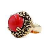 Simulated Coral Antiqued Gold Tone Floral Set Ring