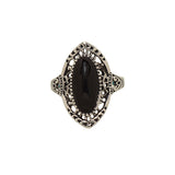 Antique Finish Black Onyx Rhodium Plated Fashion Ring