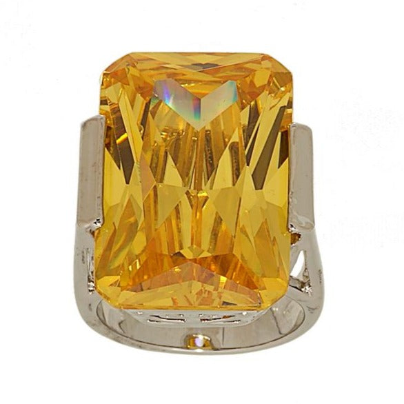 Huge Yellow Emerald Cut Statement Ring