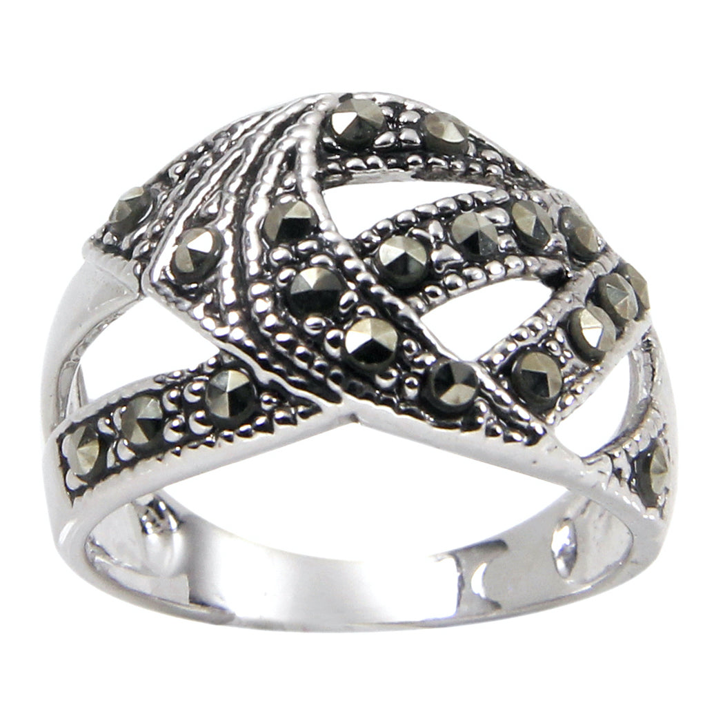 Sterling Silver Abstract Chevron Band Marcasite Ring