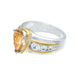 Beautiful Pear Shape Champagne Side Stones Contemporary Setting Ring