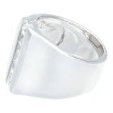 Contemporary Wide Polished Six Channel Set Clear Stones Ring