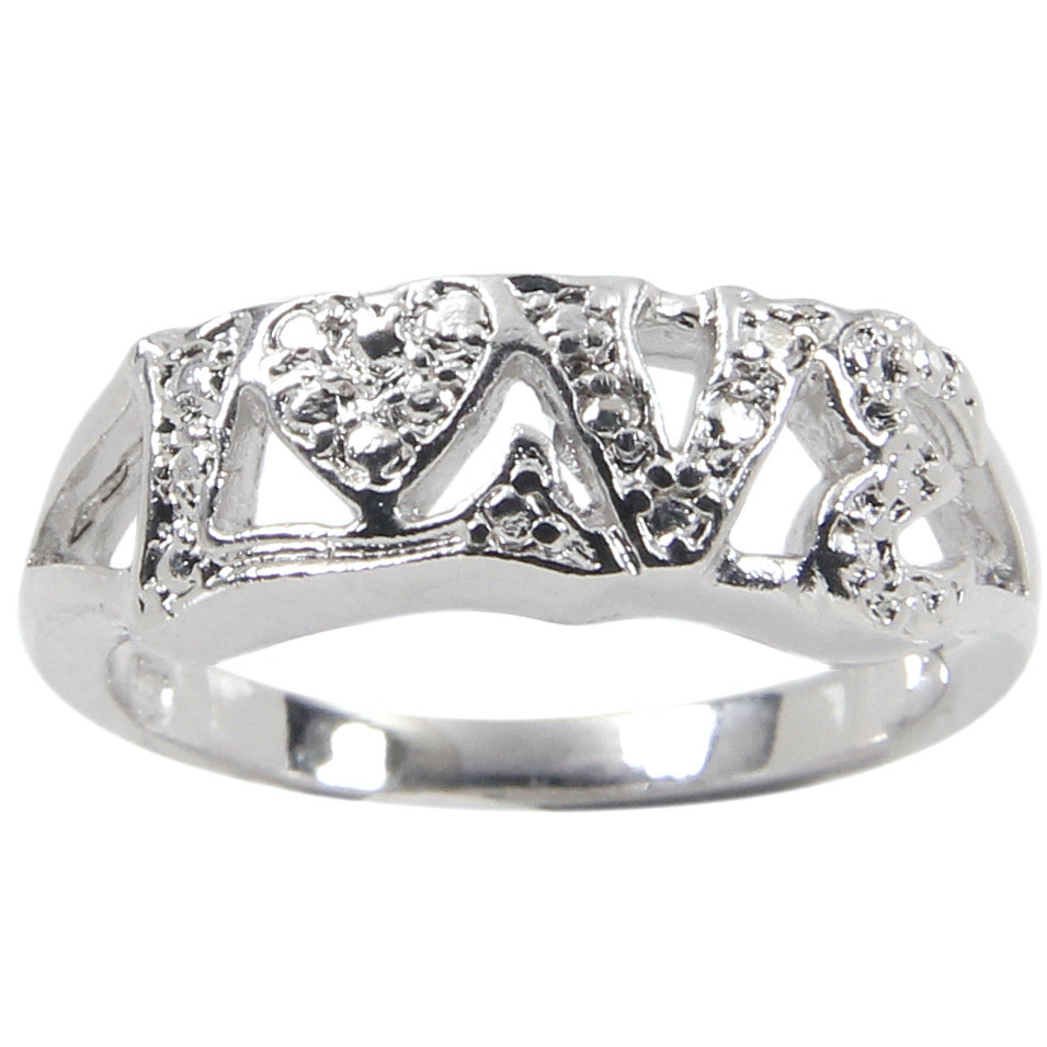 Sterling Silver Spelled Out Love Band Ring
