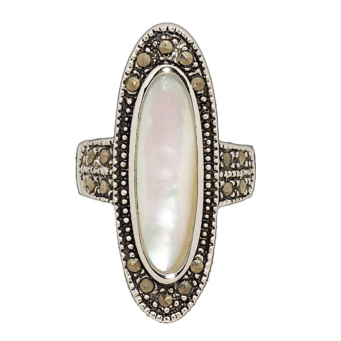 Genuine Mother of Pearl Marcasite Statement Ring
