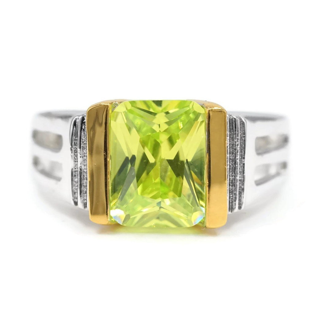Best Selling Special Emerald Cut Single Stone Lemon Green Stone Ring