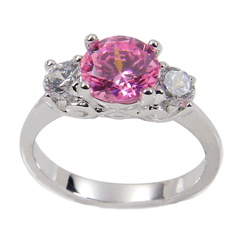 Brilliant Sterling Silver Engagement Style Three Stone Pink Stone Ring