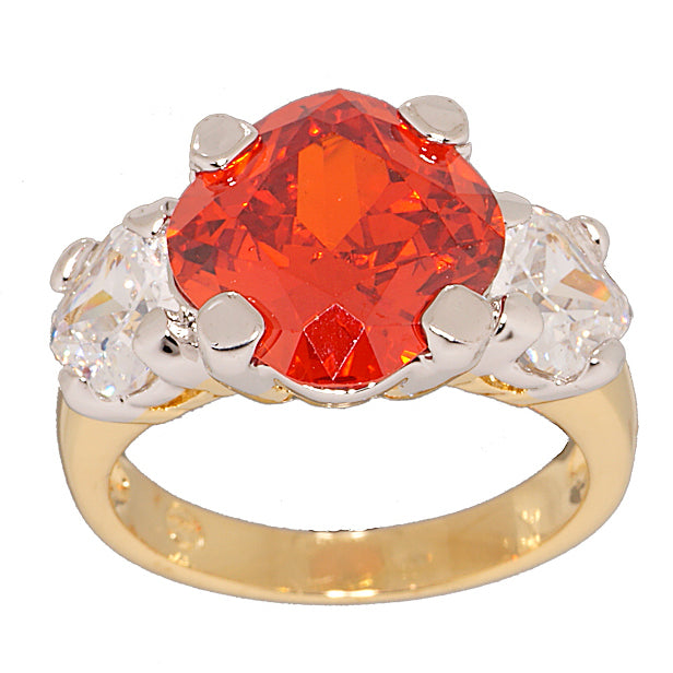 Unique Fancy Cut Three Stone Vivid Orange Ring