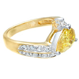 Graceful Twist Two Tone Yellow Pear Shape Stone Ring