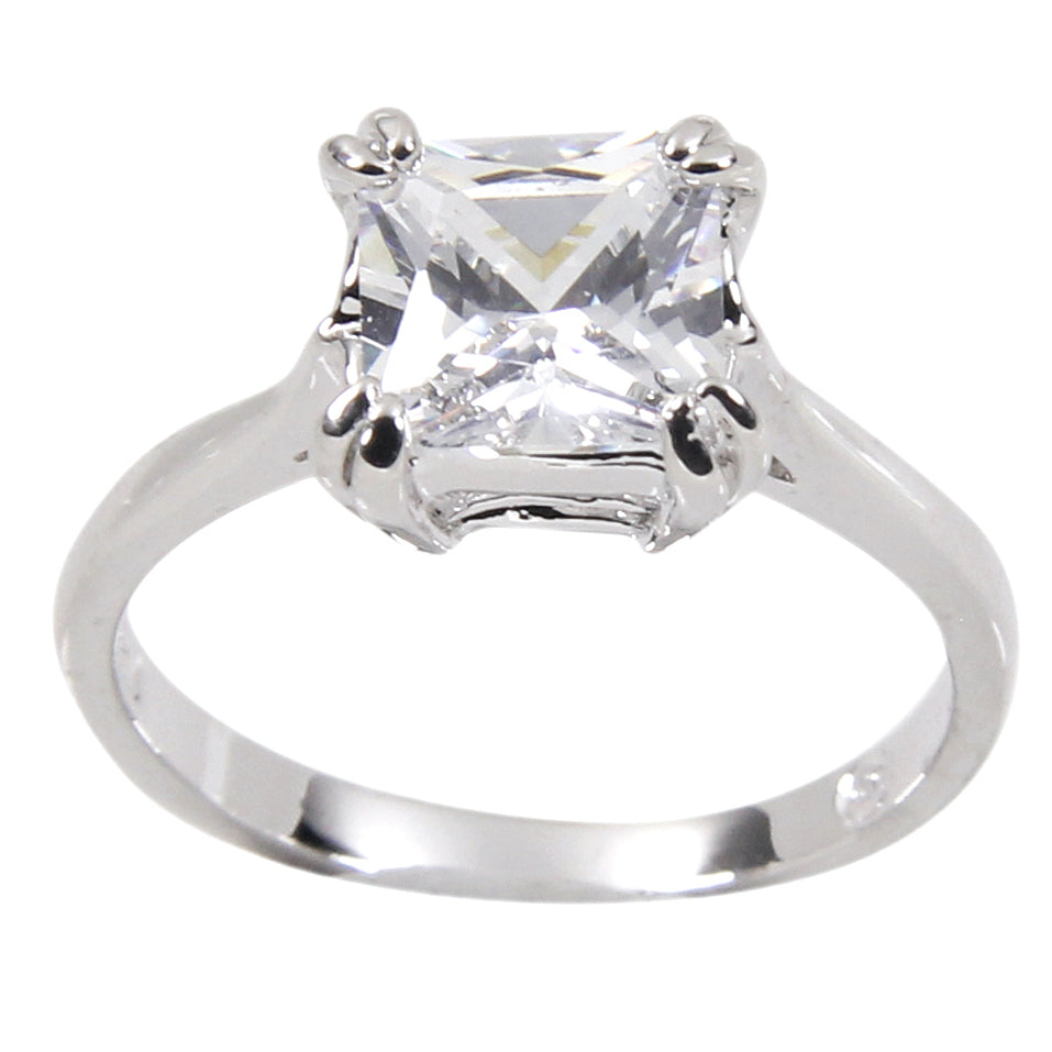Classic Sterling Princess Cut Engagement Solitaire Ring
